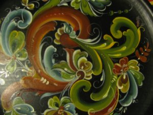Rosemaling plate Oils/acrylics Rules and Telemark Technique