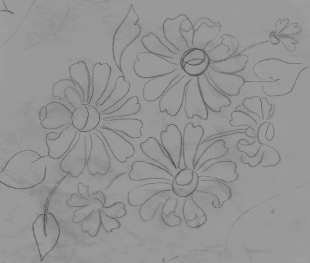 Hand Painted Flower - DIY  Dry Brush / OverlayTechnique- Free Pattern (5/6)