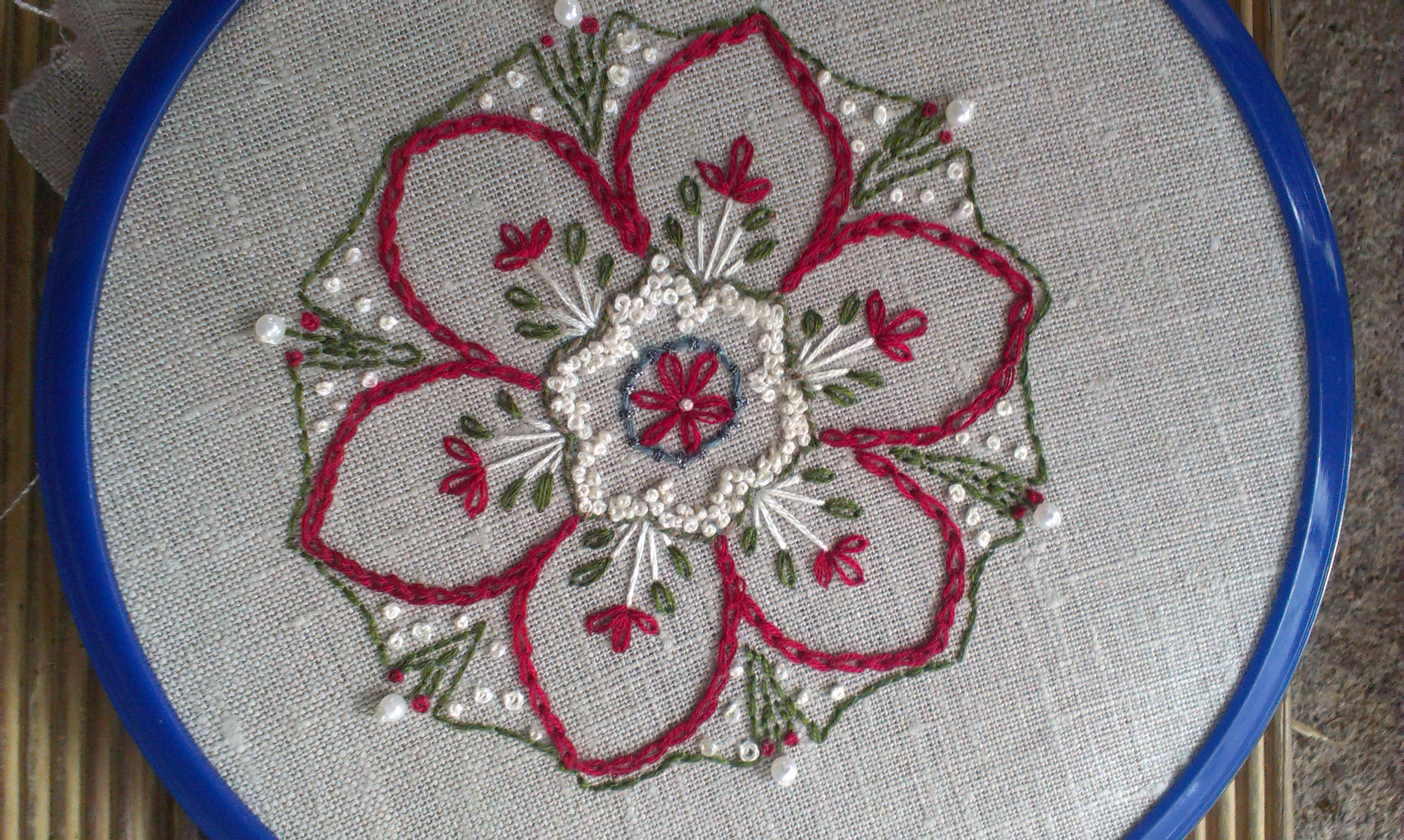Embroidery inpire me monday project with mitred corner
