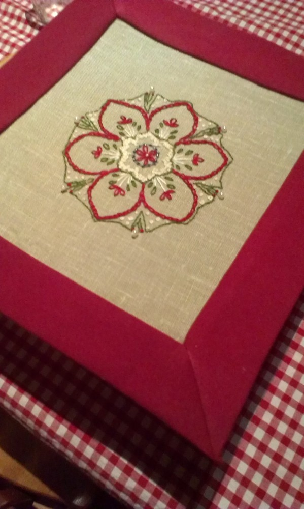 Embroidery -  Inpire me Monday project with mitred corner border (1/6)