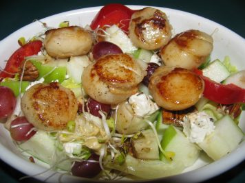 Scallops and waldorf salad