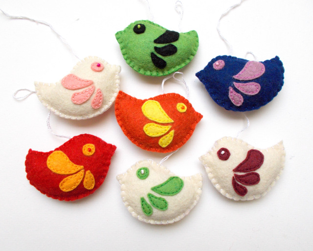 Colorful felt birds