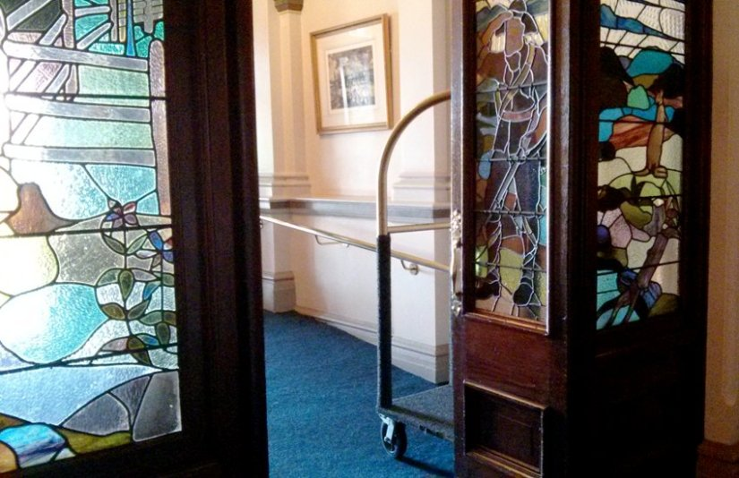 hotel entrance stained glass
