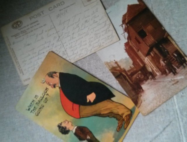 Unusual text and sayings: Postcards from over 100 years ago belonging to my grandmother
