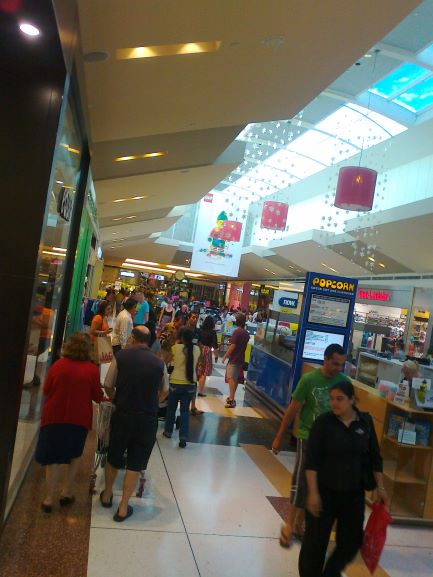 shopping centre with consumers