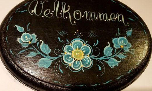 Velkommen plaque Rosemaling