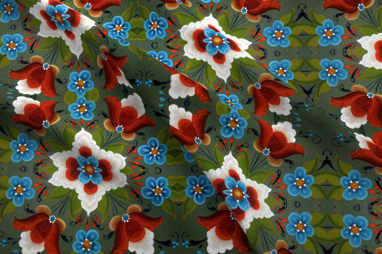 rosemaling fabric
