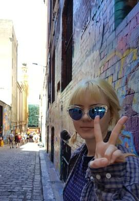cool peace sign-girl-melbourne-graffiti