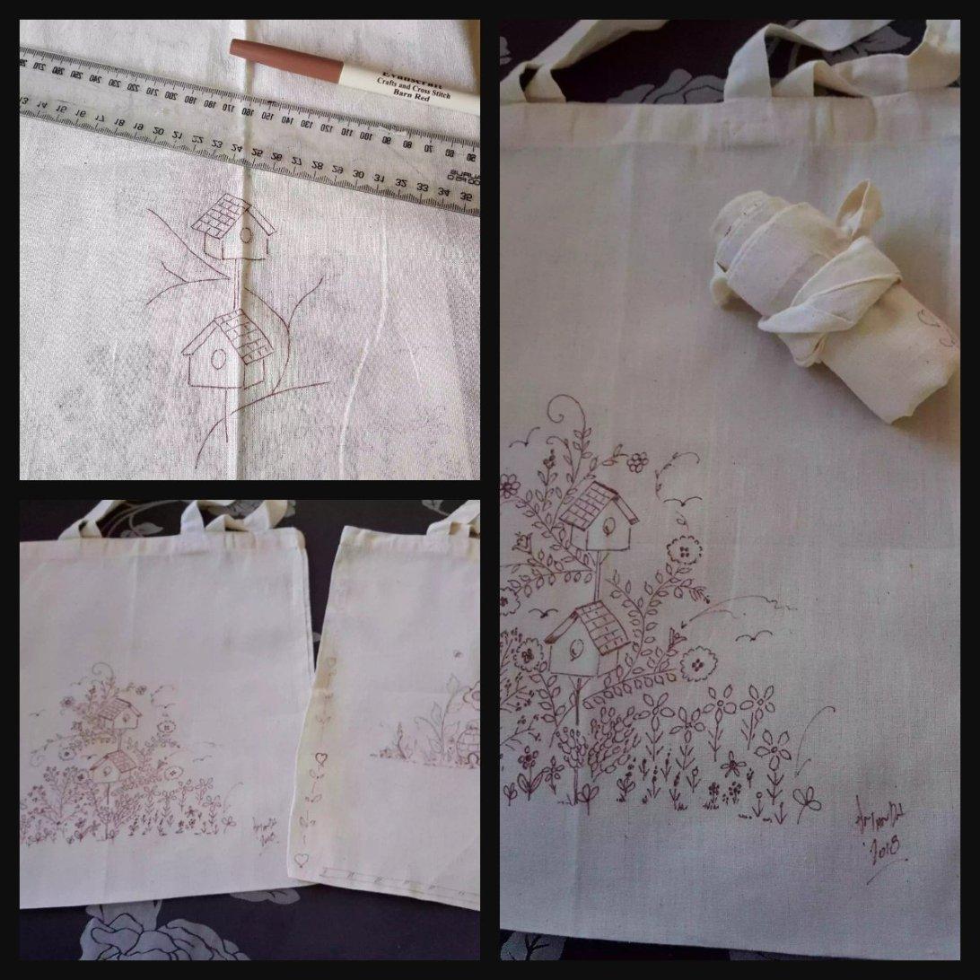 designing bags red work