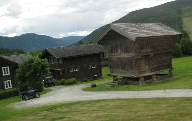 medieval buildings on norwegian farm