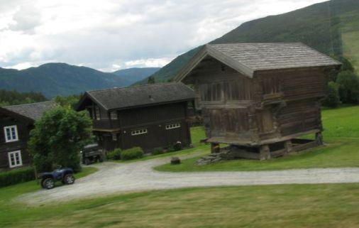 medieval buildings on norwegian farm