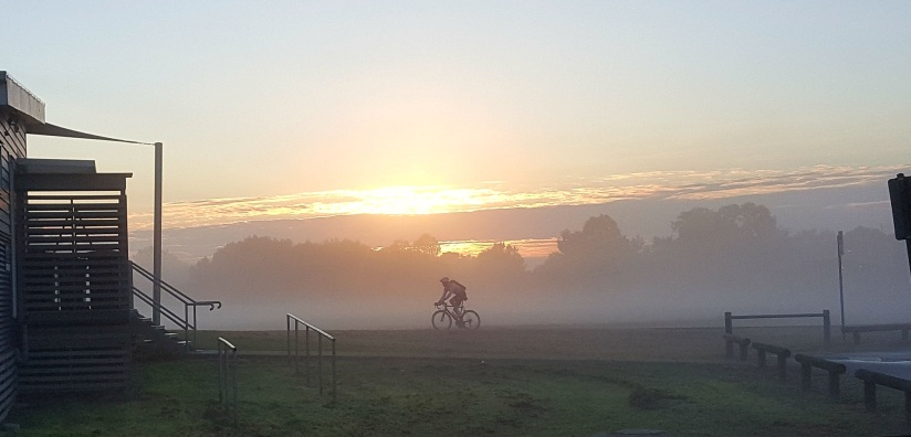 journey with a cyclist riding in a fog early morning