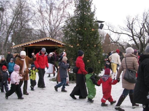 Dancing at Christmas time in Skansen museum, stockholm