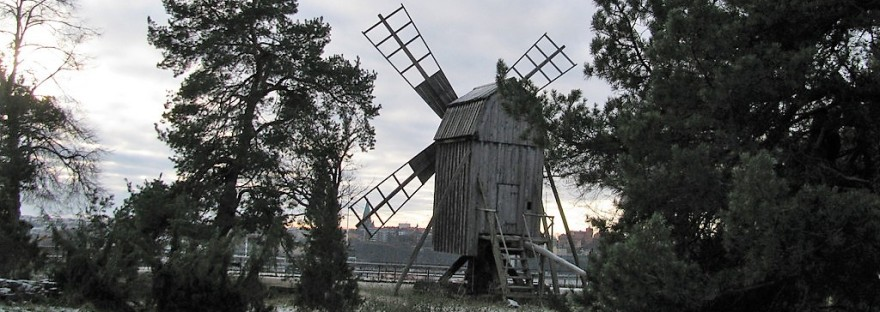 winter windmill skansen sweden
