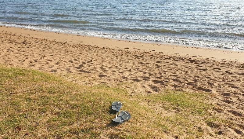 left abandoned alone thongs beach