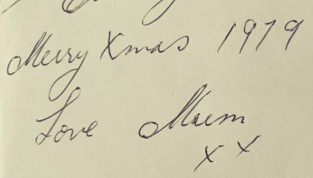 nostalgic greeting with words Love Mum 1979